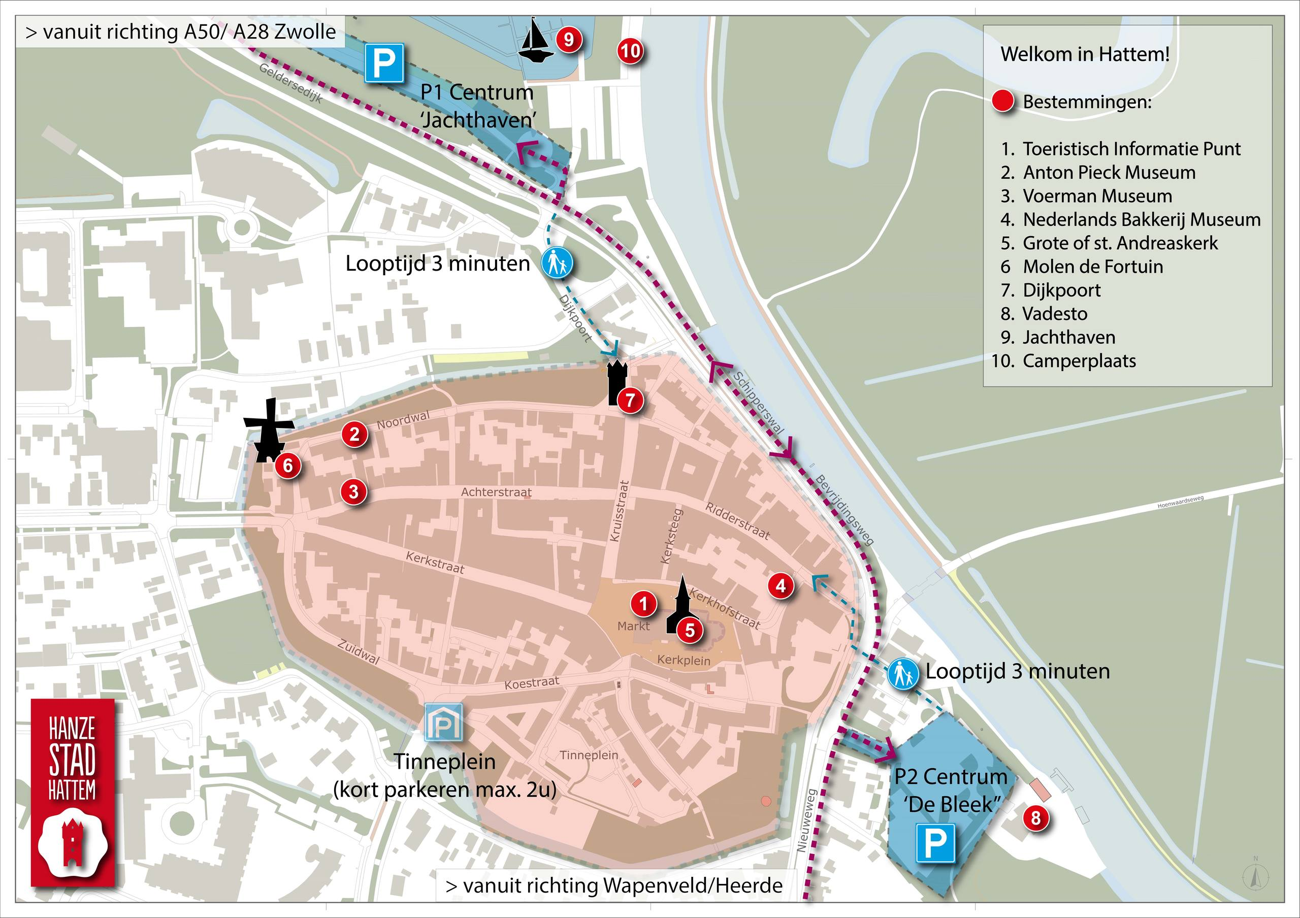 Een kaart van het centrum van Hattem, met daarop de parkeerplaatsen rondom het centrum. En een aantal belangrijke trekpleisters in het centrum.